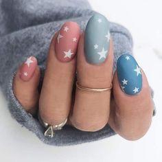 Summer Acrylic Nails, Cute Acrylic Nails, Spring Nails, Summer Nails, Stylish Nails, Trendy Nails, Garra, Stars Nails, Star Nail Designs