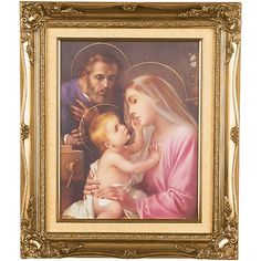 HOLY FAMILY PICTURE - Measures: 16 x (total with frame) Ornate, gold frame with beige cloth matting (no glass) This stunning Holy Family Pictures, Pictures Online, Catholic Art, Family Business, Frame, Catholic Crafts, A Frame, Frames, Hoop