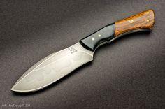 Matt Bailey custom knife, forged 1095 Cocobolo Recurve
