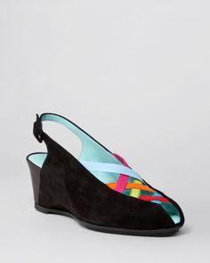 Thierry Rabotin Peep Toe Wedge Slingback Pumps - Cara Multicolor | Bloomingdale's