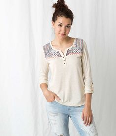 Freshwear Embroidered Henley Top - Women's Shirts/Tops | Buckle