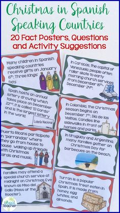 Introduce students to Christmas traditions in Spanish speaking countries with these quick fact posters. Includes 20 posters, recording sheets, questions, and suggested activities. Spanish Basics, Spanish Lessons, Spanish Language Learning, Teaching Spanish, Foreign Language, Preschool Spanish, Spanish Vocabulary, Vocabulary Games, Dual Language