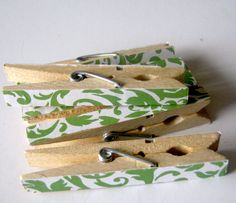 Charming Clothespins Set of 6 Green Damask by PapercutsBindery, $6.00