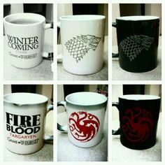 Game of Thrones mug set. They change color with hot liquid to reveal a secret message