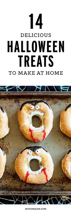 Make your own Halloween party treats with these delicious and homemade recipes. Halloween Treats To Make, Dessert Halloween, Halloween Goodies, Halloween Food For Party, Halloween Halloween, Halloween Makeup, Halloween Donuts, Halloween Costumes, Halloween Quilts