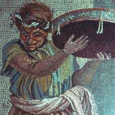comic actor: detail of a mosaic from Pompeii, signed by a Greek mosaicist, Dioskourides from Samos