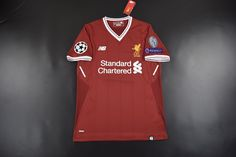 07fb57c89 2017-18 Liverpool Home red soccer jersey with UEFA patch Liverpool Home