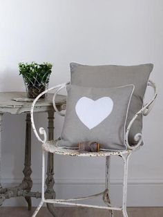 A cotton cushion in natural piped in crisp white and presented with a luxury feather pad. The cushion is appliqued with white cotton heart. Measures x Cushions On Sofa, Throw Pillows, Heart Cushion, Heart Frame, Cushion Pads, Unusual Gifts, Grey And White, Home Accessories, Outdoor Chairs
