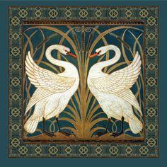 Walter Crane Swan, Rush And Iris Art Nouveau Fabric