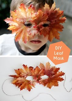 DIY Leaf Mask, celebrate fall with this fun and simple dress up craft!  // smallfriendly.com
