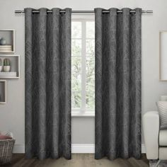 Exclusive Home Twig Insulated Woven Blackout Grommet Top Window Curtain Panel Pair, 54x108, Black Pearl