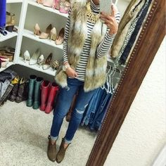 fur vest striped tee outfit