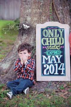 2nd child pregnancy announcement. Photo by Just be Photojennic. Chalk art by Laurin Hart.