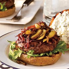 Cabernet-Balsamic Burgers with Sautéed Mushrooms & Onions | MyRecipes.com