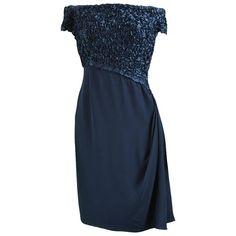 718b86902 Catherine Walker Navy Blue Silk Ribbonwork Couture Evening Dress, 1980s Off  Shoulder Cocktail Dress,