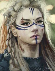 """Jord Goldskaar, original by Vitold """"Saig"""" Syrovoy, based on Lagertha from the TV show Vikings Character Portraits, Character Art, Fantasy Makeup, Fantasy Art, Fantasy Women, Fantasy Characters, Female Characters, Vikings, Warrior Makeup"""