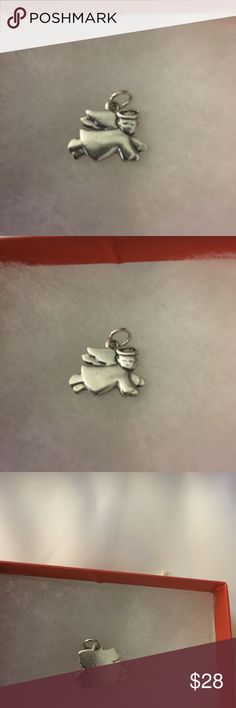 """James Avery Angel Charm, SS, 1 1/4"""" long. This Angel Charm must be retired as I have not seen one like it. The Angel is a classic symbol of the spirit of faith and love, in sterling silver. James Avery Jewelry"""