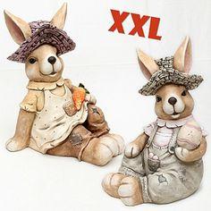 """Vogtland-Souvenir`s - XXL-Keramik-Dekohase """"Fritz & Gilla"""" sitzend Dekofiguren nicht nur zum Osterfest für Aussen"""