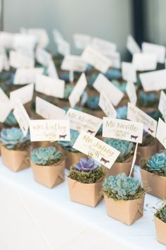 Succulent place cards + favors: http://www.stylemepretty.com/california-weddings/carmel/2016/03/19/rustic-carmel-valley-ranch-wedding/ | Photography: Carlie Statsky - http://www.carliestatsky.com/