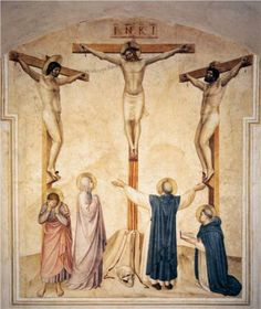 Fra Angelico: Crucifixion with Mourners and Sts. Dominic and Thomas Aquinas