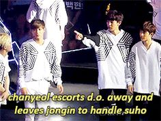 when someone messes with EXO kyungsoo 4/4 Chanyeol escort D.O. away from Suho, and Kai was in charge of 'beating' him #jongin #joonmyun The Lost Planet Concert