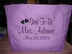 Bride Wedding TOTE Bag HEARTS NAME DATE SOON TO BE BRIDAL SHOWER  DS445 GIFT #PORTCO #TotesShoppers