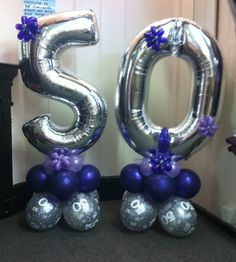 Large Foil Number Balloons on a Base. Can be done in many various colours and designs.