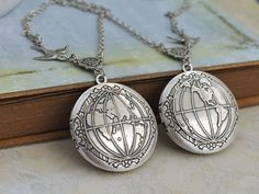 Lockets – Antique silver world locket globe locket – a unique product by MadamebutterflyMeagan on DaWanda