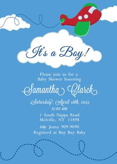 Airplane Baby Shower Invitation on Etsy, $15.00