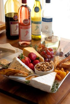 Creating a simple wine and cheese plate via Simply Love Food | simple food made with lots of love
