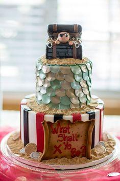 Pirate Mermaid Gender Reveal Cake Gender Reveal Party Ideas Pirate Mermaid Theme
