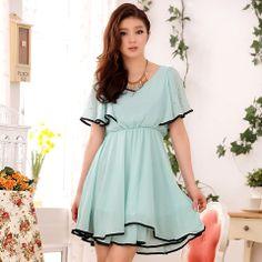 KPOPCITY - LA19. Various Sized Dress (Black/Blue)  Yes! Plus Sizes!