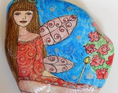 The Red Rose Fairy.  Hand Painted Natural Stone