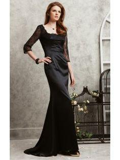 Black Sheath Floor-length Scoop Dress