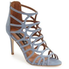 """Steven by Steve Madden 'Tana' Cage Sandal, 3 1/2"""" heel (4,885 THB) ❤ liked on Polyvore featuring shoes, sandals, blue nubuck, caged high heel sandals, ankle wrap sandals, strap sandals, ankle strap sandals and strappy sandals"""