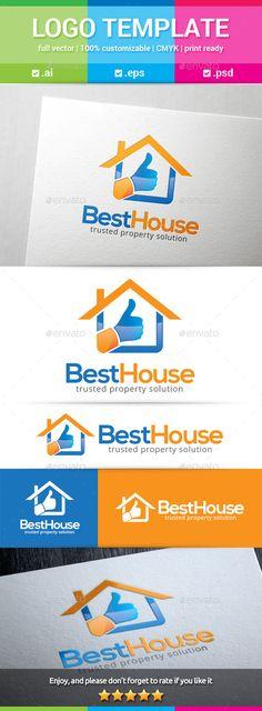 Best House Logo: Building Logo Design Template by Logo Design Template, Logo Templates, Property Logo, Building Logo, Service Logo, Real Estate Logo, Information Graphics, Good House, Business Branding