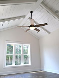 Vaulted ceilings with beams for master bedroom addition. Needs bigger window wall and no ceiling fan! Vaulted ceilings with beams for master bedroom addition. Needs bigger window wall and no ceiling fan! Ceiling Fan Vaulted Ceiling, Wood Plank Ceiling, No Ceilings, Shiplap Ceiling, Bedroom Ceiling, Cathedral Ceiling Bedroom, Paint Ceiling, Modern Ceiling, Cathedral Ceilings