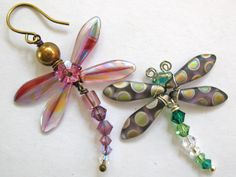 Czech dagger beads make perfect dragonfly wings. Love the spots!