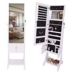 DXP 2016 NEU Modelle- Schmuckschrank 160cm Spiegelschrank Standspiegel mit Schuhregal Schmuckkasten Spiegel Doppeltür Design Weiß JCYJ12