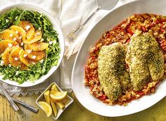 Almond Pesto Fish with Tomato Bake and Spiced Orange Salad from Publix Aprons