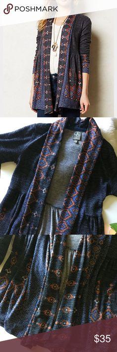 ANTHROPOLOGIE ONE SEPTEMBER• kimono sweater ANTHROPOLOGIE ONE SEPTEMBER• charcoal, rust, periwinkle Aztec kimono sweater. Sweaters