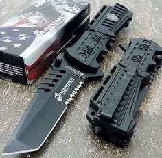 U.S. MARINES Knife Licensed USMC MARINES Assisted Military Knives BLACK Tactical Tanto Knife Knife
