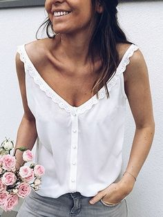 Spread the love The post Women Casual Loose Summer Top Lace Sleeveless Blouse Breathable Basic Vest loungewear Solid debardeur femme camisetas mujer appeared first on Emporiaz. Modelos Fashion, Lace Vest, Lace Collar, Lace Button, Basic Tops, Mode Inspiration, Mode Style, Lace Tops, Sleeveless Blouse