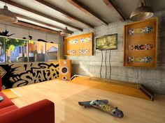 Skater room - idea for a play area for children skate fans