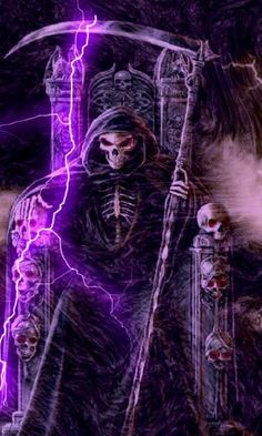 Love the colors Grim Reaper Art, Grim Reaper Tattoo, Don't Fear The Reaper, Horror Artwork, Skull Artwork, Herobrine Wallpaper, Reaper Drawing, Ghost Rider, Skull Art