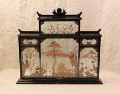 Vintage Hand Carved Cork Art Glass Case Chinese Art Display | VintageTreasuresFound - Home Decor on ArtFire