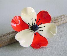 Vintage Red White Blue Enamel Flower Brooch 60s Mod via Etsy