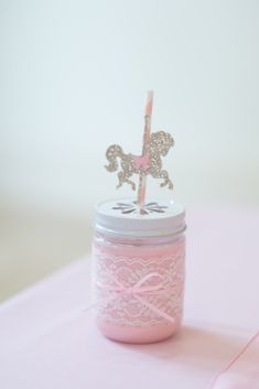 Drink Jar from a Pink Carousel Birthday Party via Kara's Party Ideas! KarasPartyIdeas.com (9)