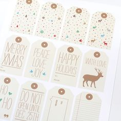 Holiday Gift Tags | Holiday, Christmas, X-mas, Gifts, Wrap, Wrapping, DIY, Printables, Merry Xmas, Happy Holidays, Season's Greetings, Warm Wishes, Peace, Love, Joy, With Love, Ho Ho Ho, Reindeer, Birds, Snowflakes, Trees, Pine