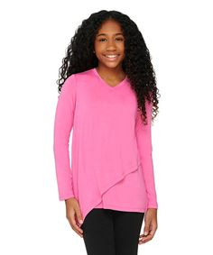 Loving this Watermelon Front-Overlay Knit Top - Girls on #zulily! #zulilyfinds
